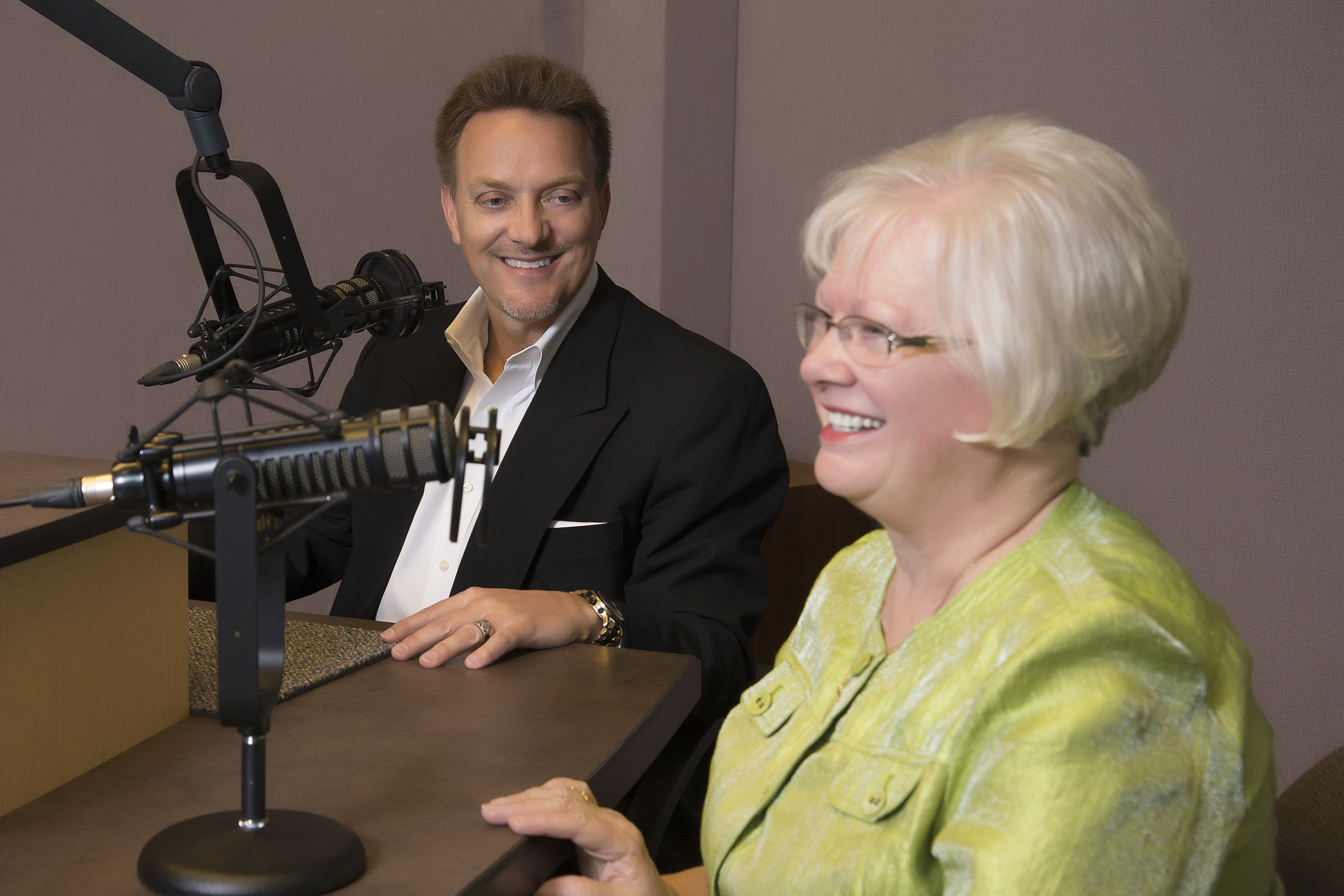 Rev. Greg Seltz, Lutheran Hour Speaker, in studio with Kay Meyer