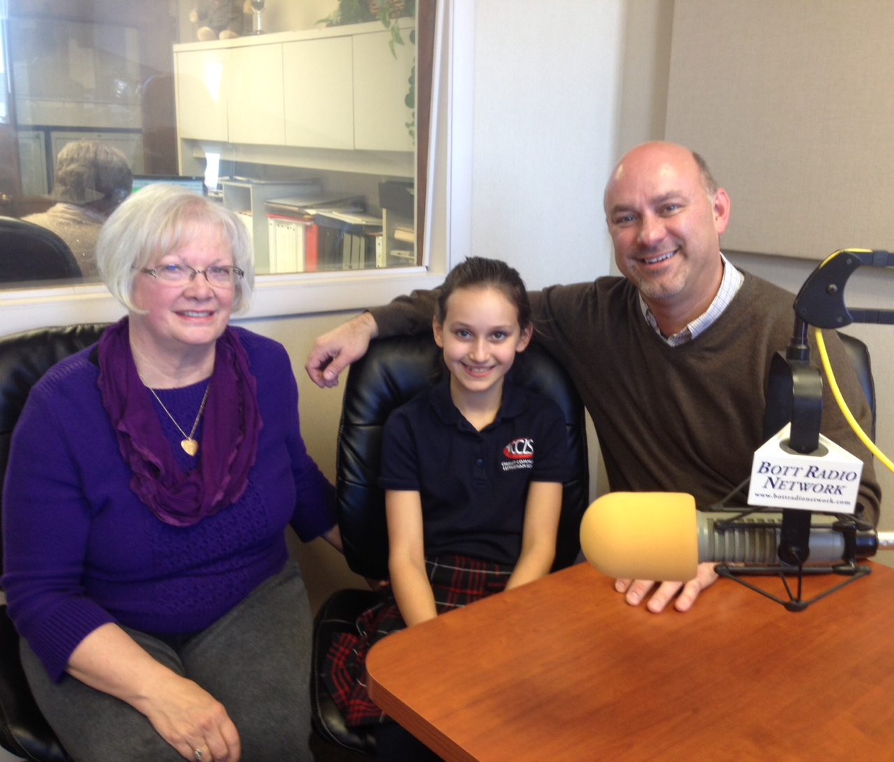 Ken Krueger and his daughter, Lily with Kay in studio