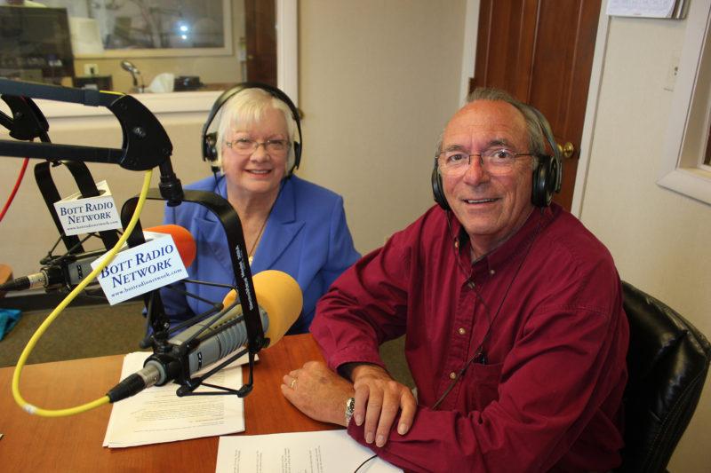 Rev James Liken and Kay Meyer in the radio studio
