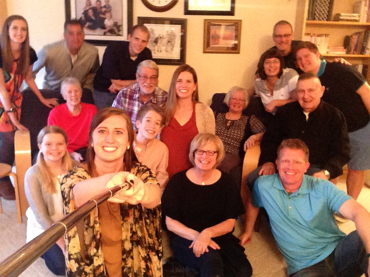 Our extended family a few years ago at our daughter's home for Thanksgiving